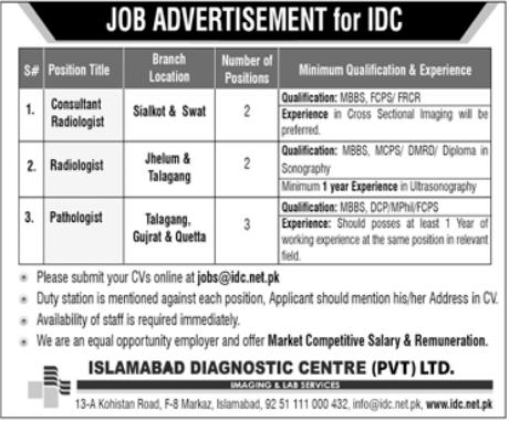 Islamabad Diagnostic Center IDC Jobs 2021