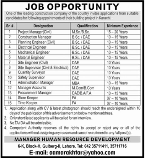 Construction Company Jobs 2021 in Karachi