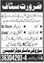 Suzuki Motors Jobs 2021 in Lahore