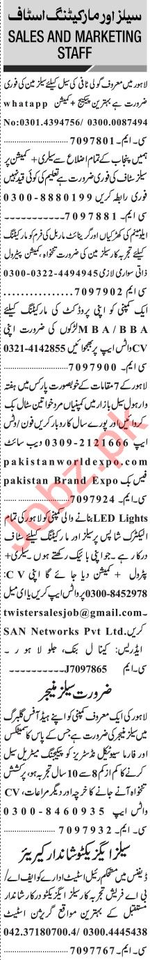 Jang Sunday Classified Ads 11 April 2021 for Marketing Staff