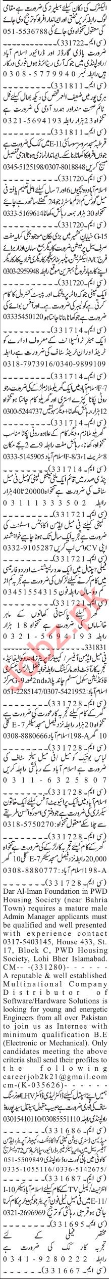 Jang Sunday Classified Ads 11 April 2021 for Office Staff