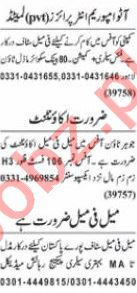 Nawaiwaqt Sunday Classified Ads 11 April 2021 Office Staff