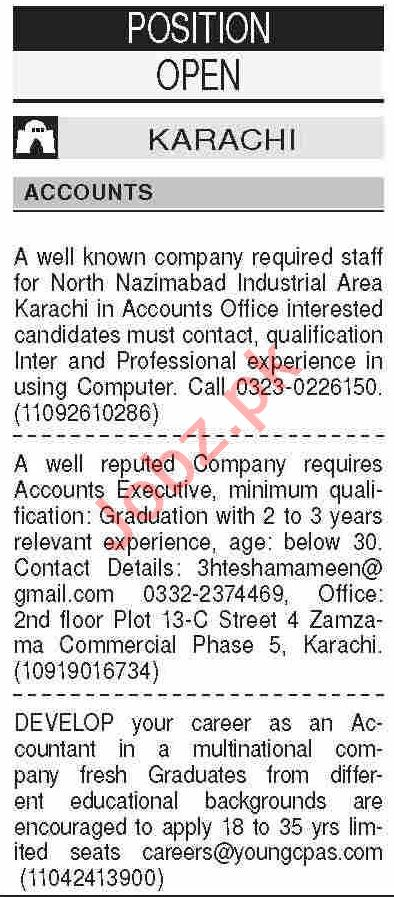 Dawn Sunday Classified Ads 11 April 2021 for Accounts Staff