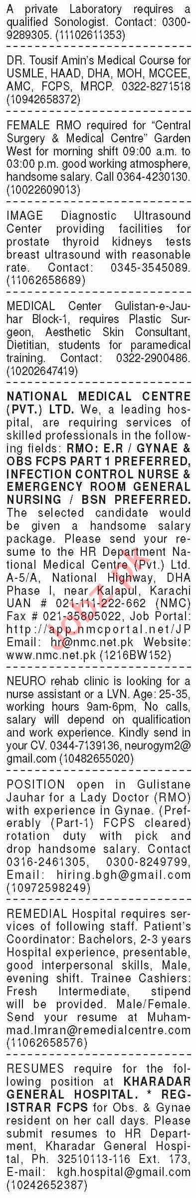 Dawn Sunday Classified Ads 11 April 2021 for Medical Staff