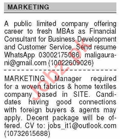 Dawn Sunday Classified Ads 11 April 2021 for Marketing Staff