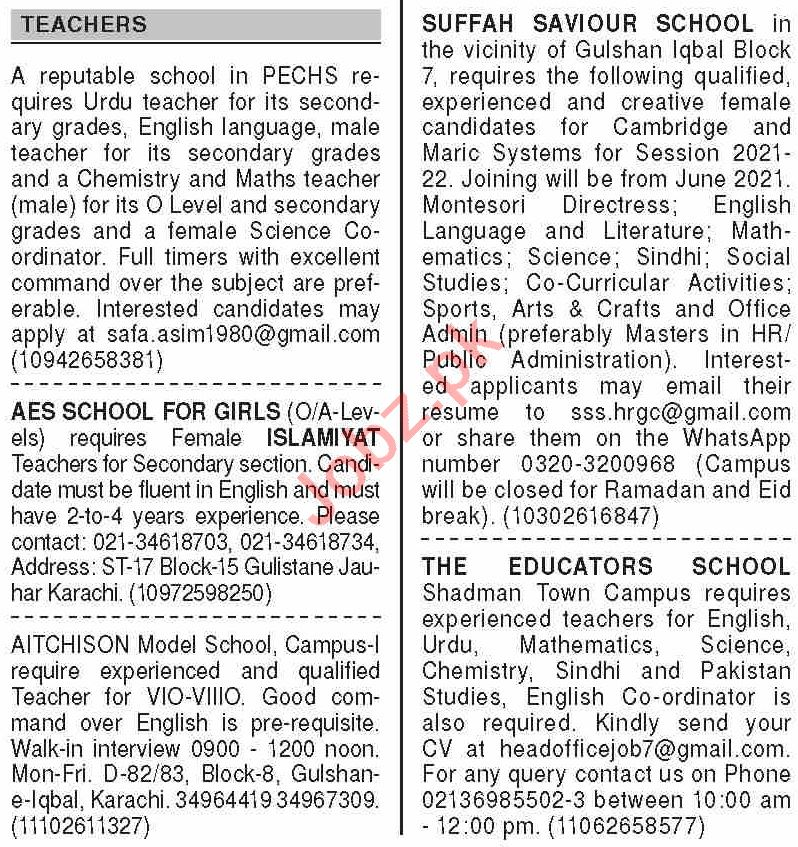 Dawn Sunday Classified Ads 11 April 2021 for Teaching Staff