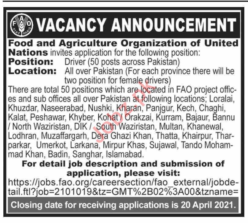 Food & Agriculture Organization FAO Pakistan Jobs 2021