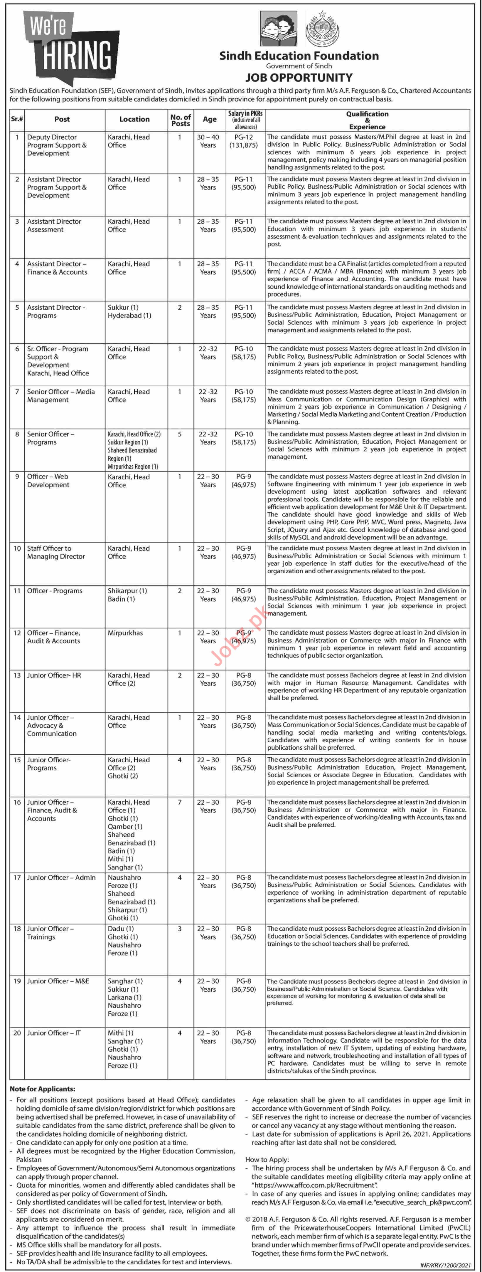 Sindh Education Foundation SEF Jobs 2021 for Deputy Director