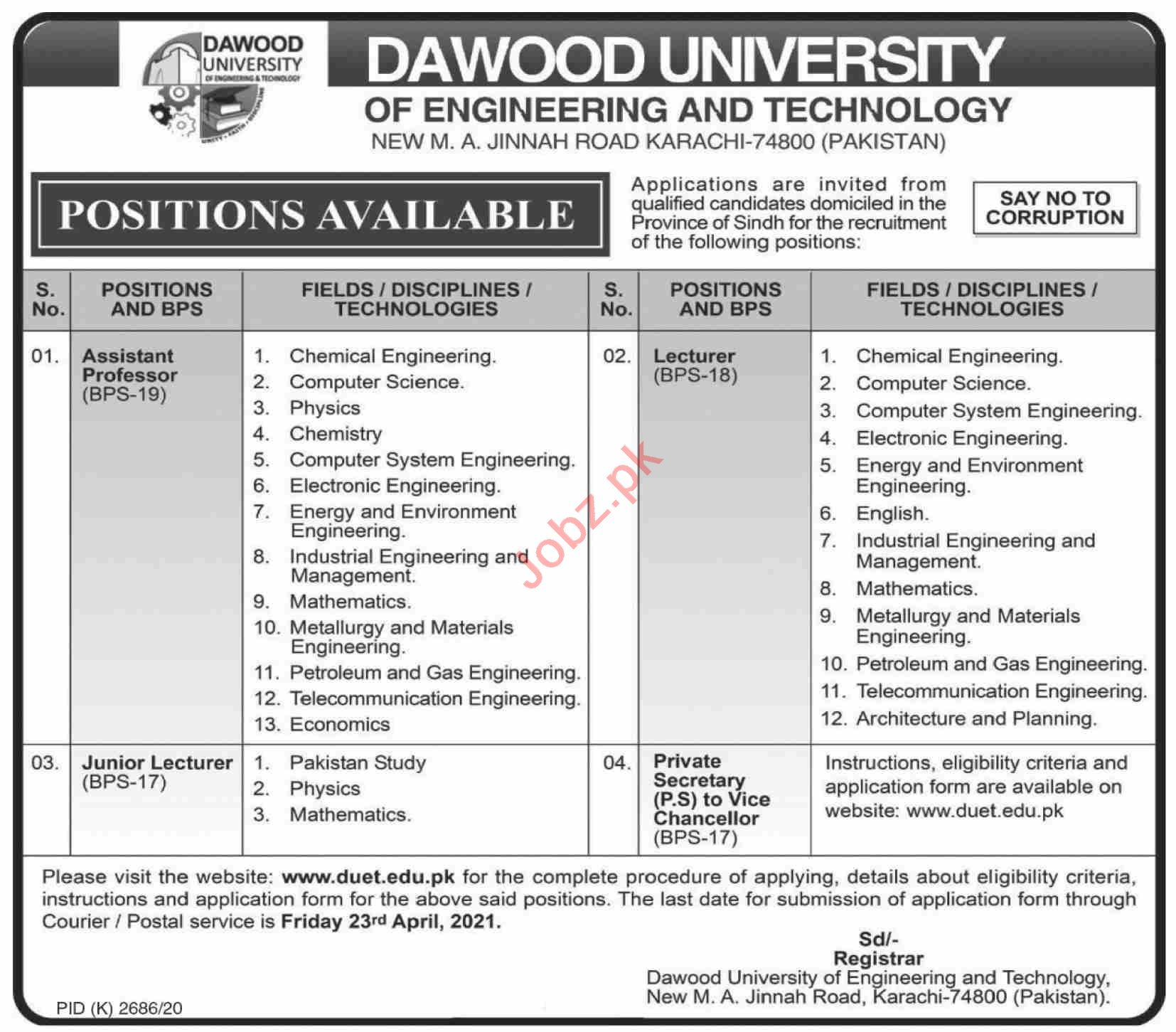 Dawood University DUET Karachi Jobs 2021 for Professors
