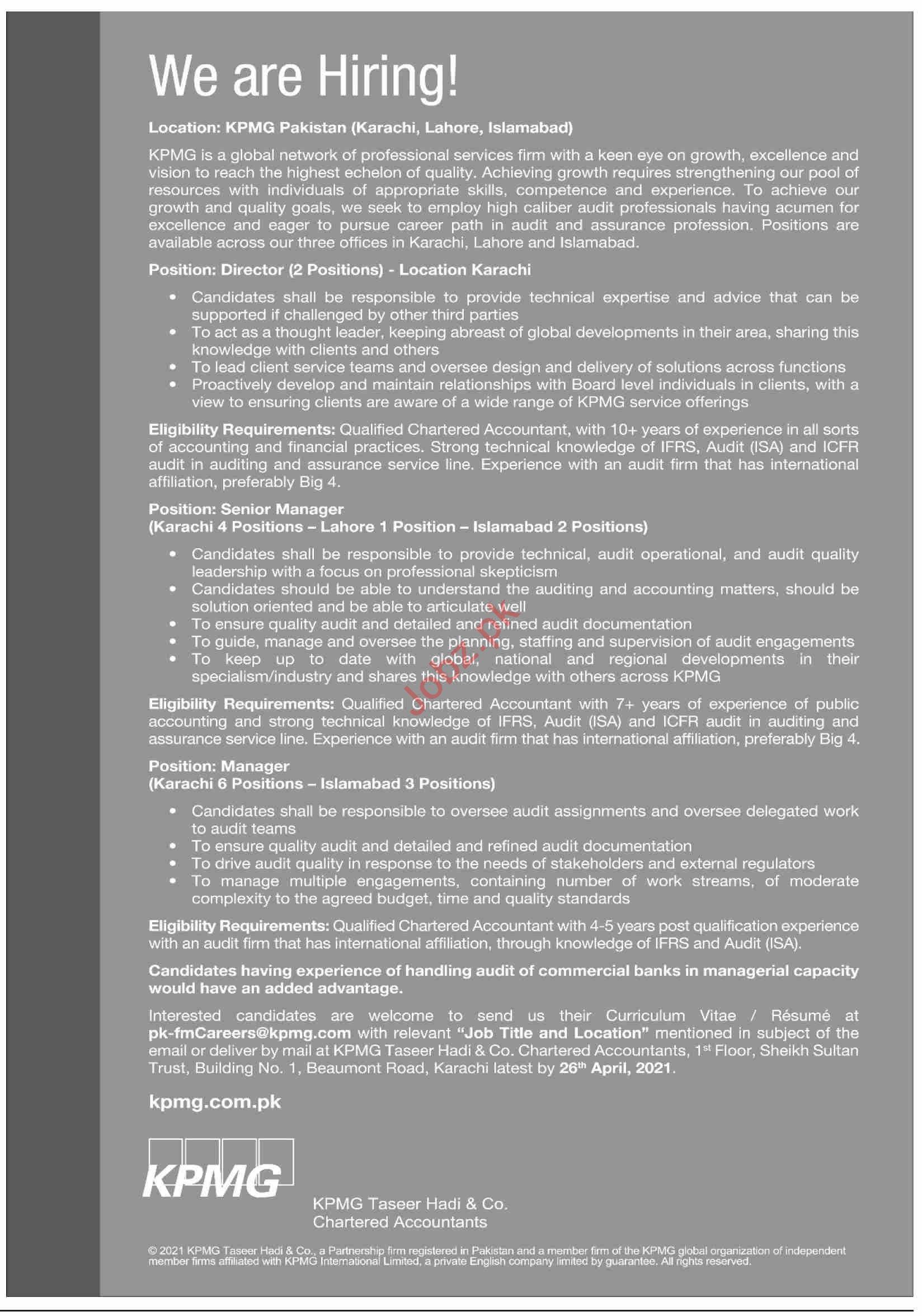 KPMG Taseer Hadi & Co Karachi Jobs 2021 for Director