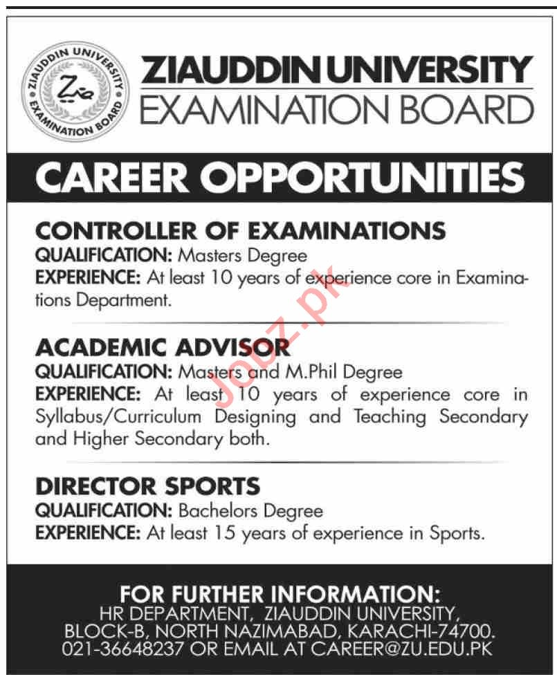 Ziauddin University ZU Karachi Jobs 2021 Academic Advisor