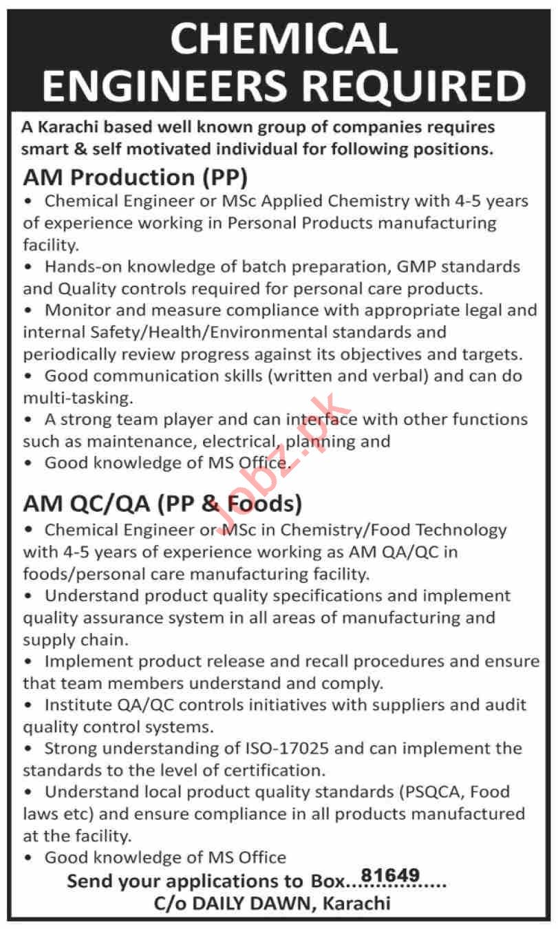 Chemical Engineer & AM Production Jobs 2021 in Karachi