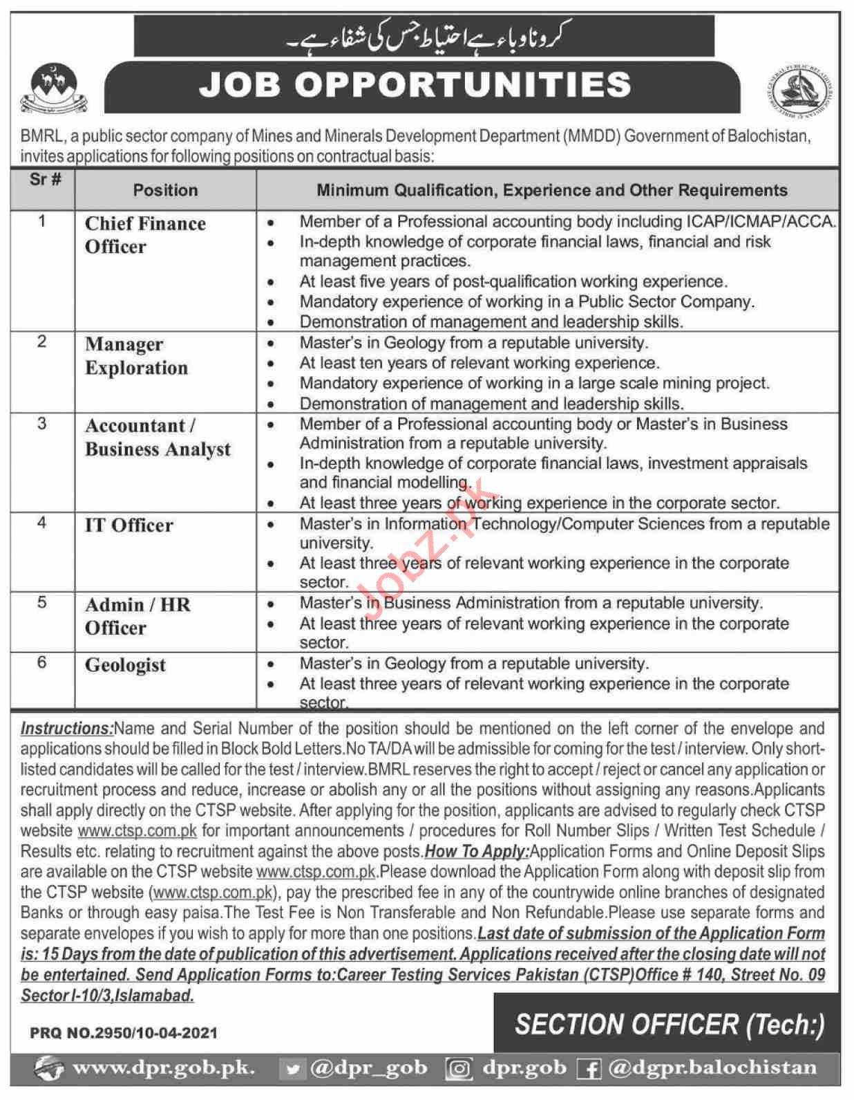 Balochistan Mineral Resource Limited BMRL Quetta Jobs 2021