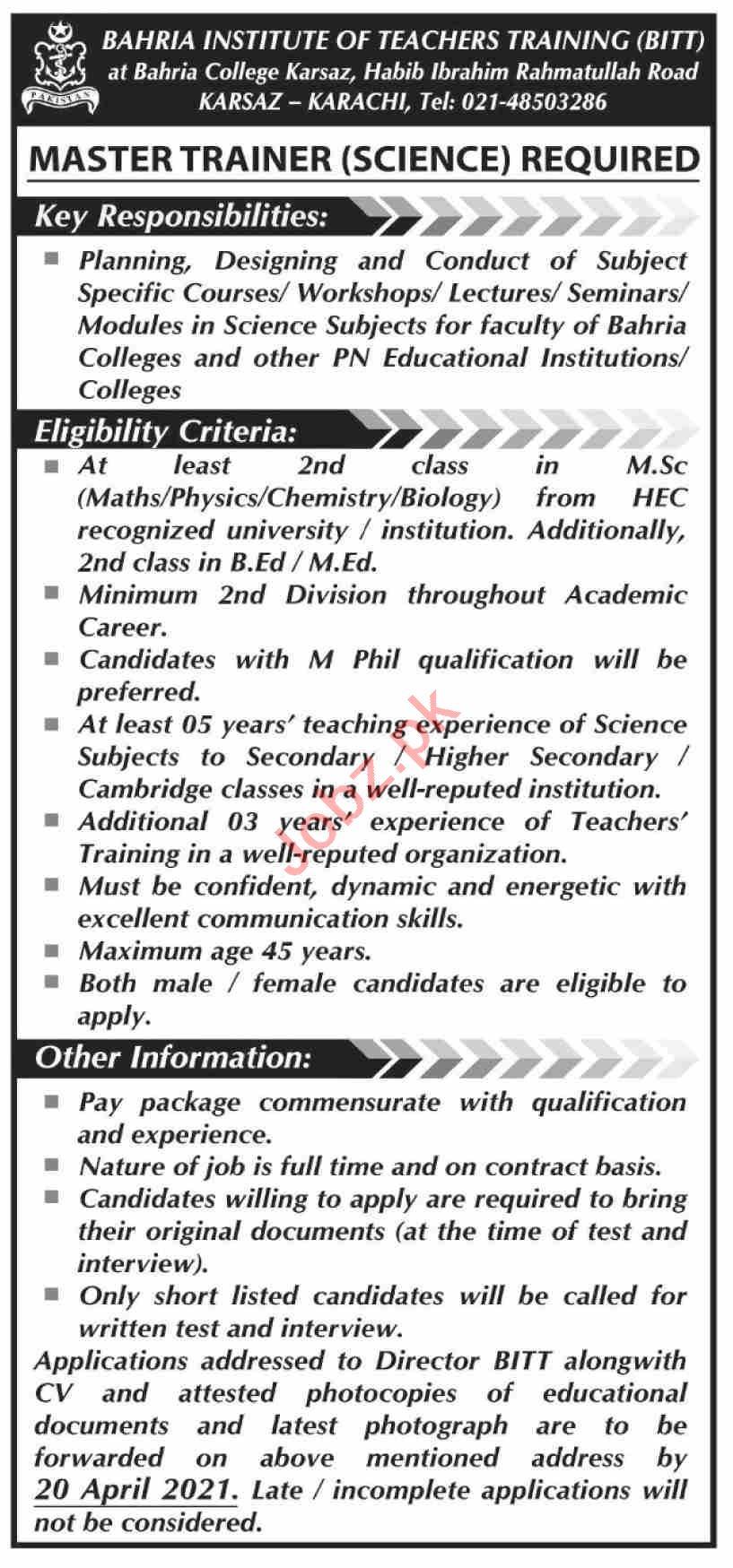 Bahria Institute of Teachers Training BITT Karachi Jobs 2021