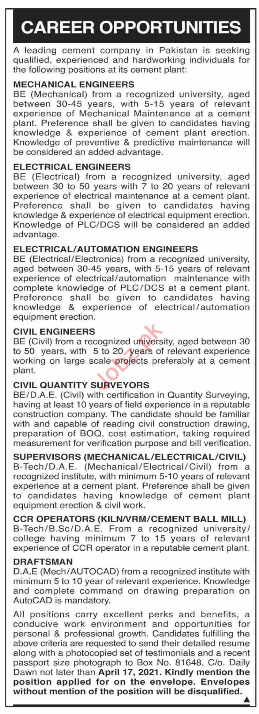 Mechanical Engineer & Electrical Engineer Jobs 2021