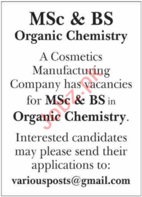 Organic Chemist & Chemist Jobs 2021 in Karachi