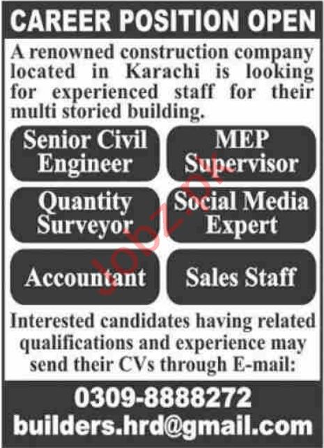 MEP Supervisor & Social Media Expert Jobs 2021 in Karachi