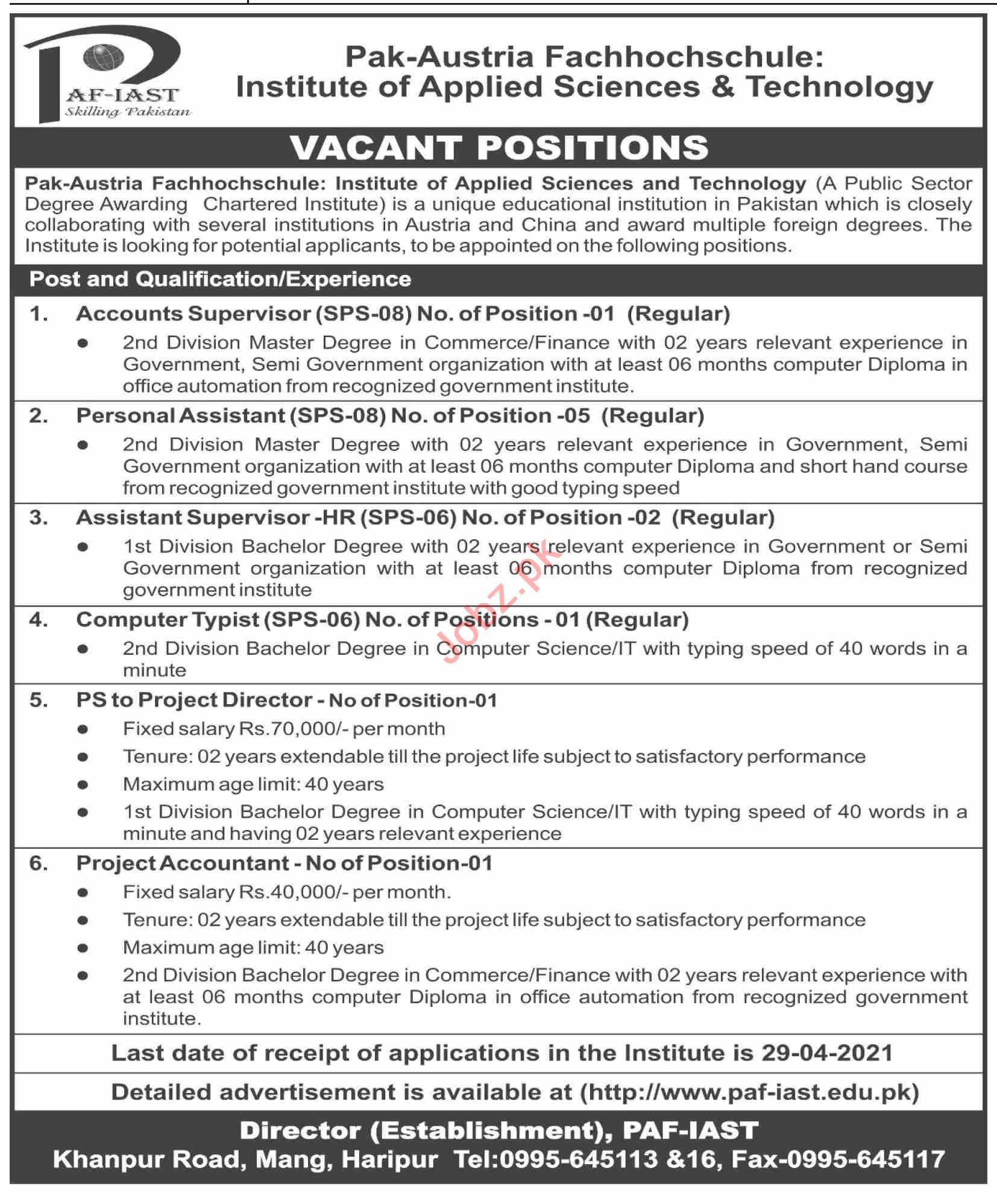 PAF IAST Pak Austria Fachhochschule Institute Jobs 2021