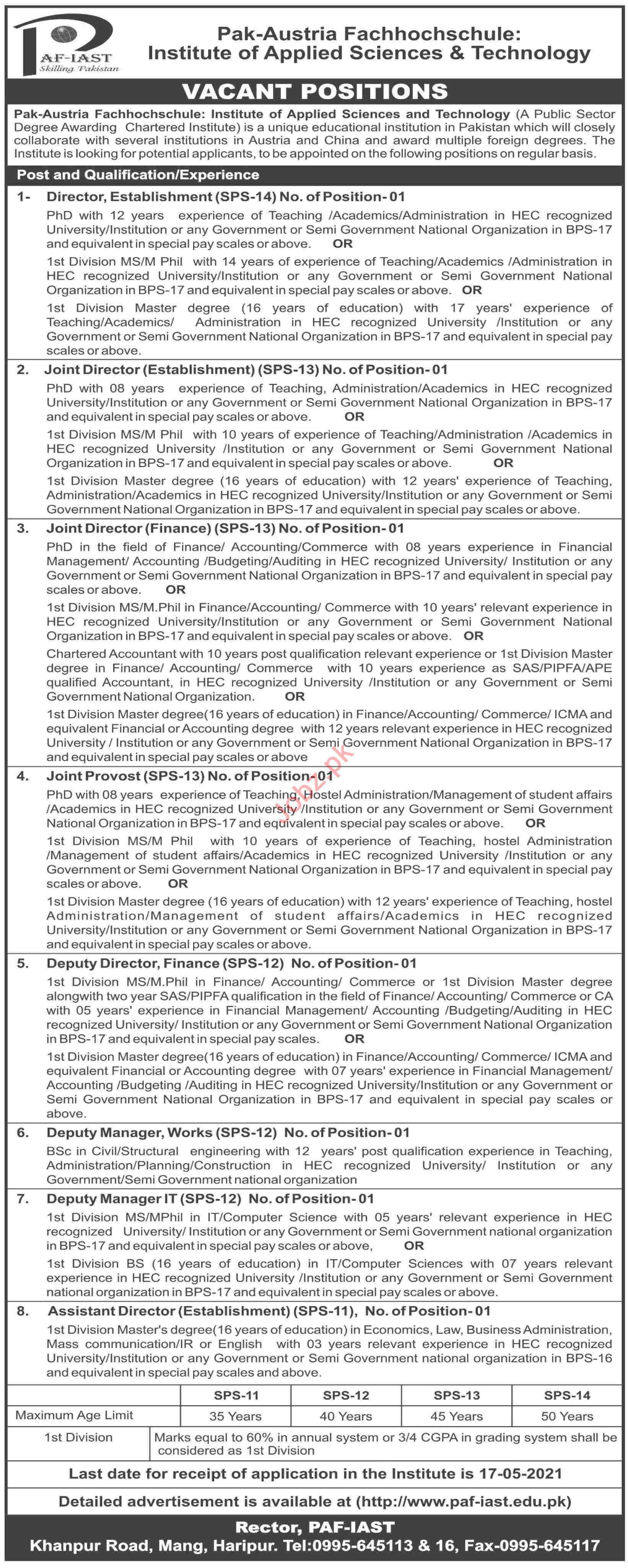PAF IAST Institute Haripur Jobs 2021 for Director