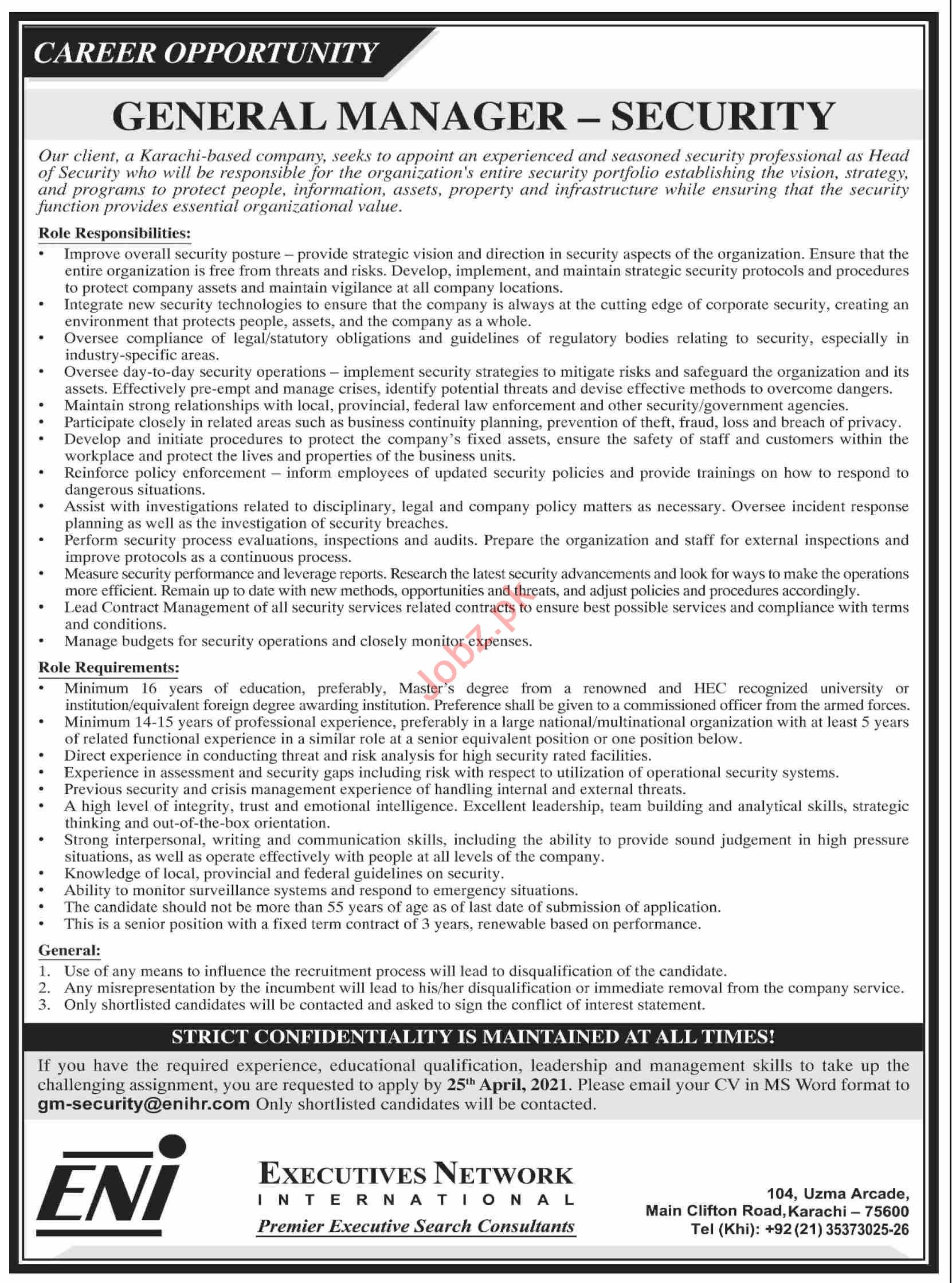 General Manager & General Manager Security Jobs 2021