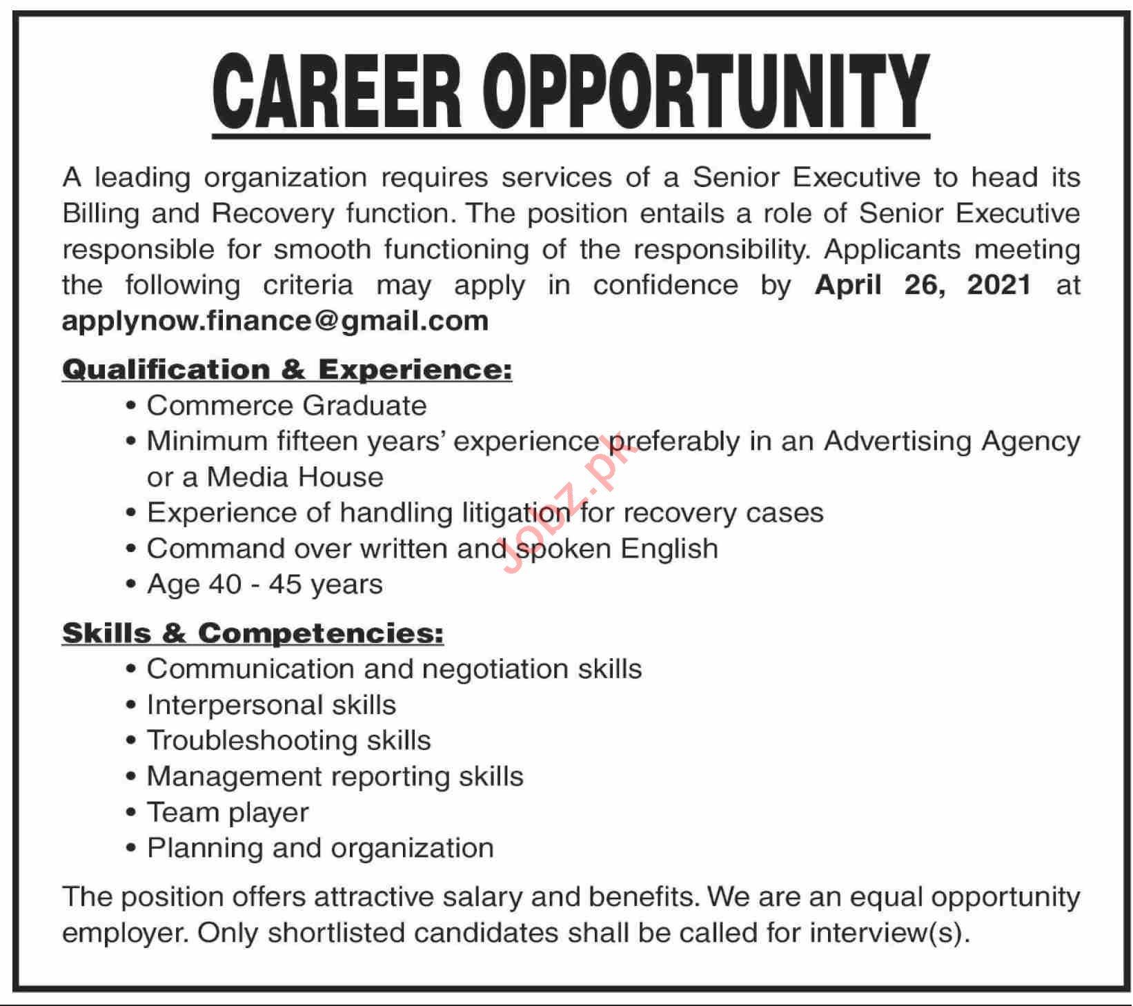 Senior Executive & Executive Jobs 2021 in Karachi