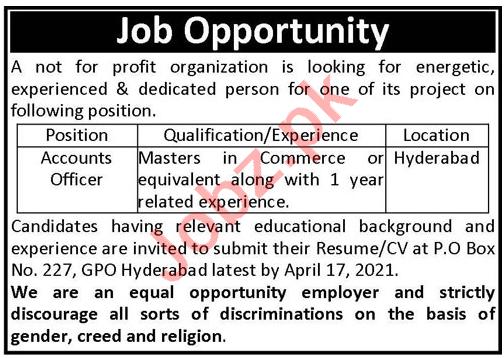 Accounts Officer NGO Jobs 2021 in Hyderabad