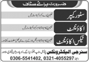 Synergy Electronics Jobs 2021 in Lahore