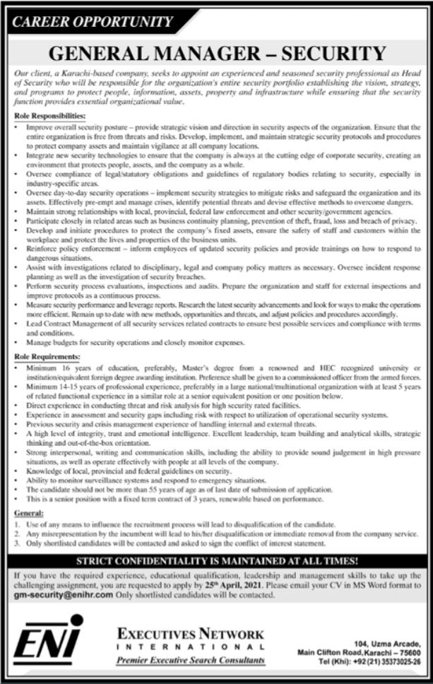 General Manager Security Job 2021 in Karachi