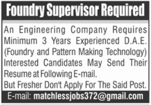 Foundry Supervisor Job 2021 in Lahore