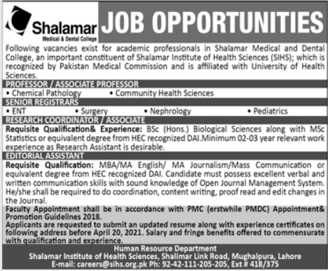 Shalamar Medical & Dental College Jobs 2021 in Lahore