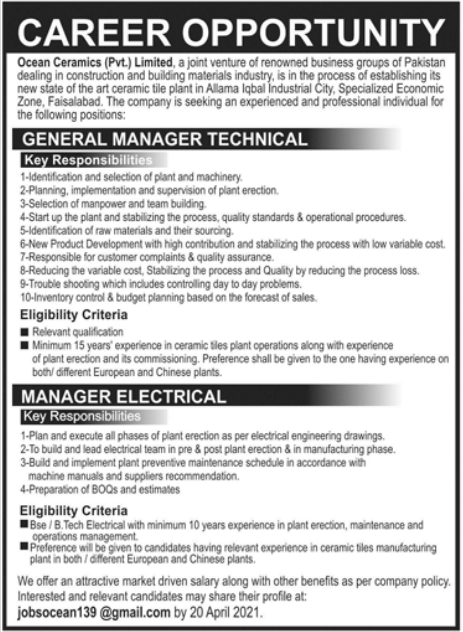 General Manager Technical & Manager Electrical Jobs 2021