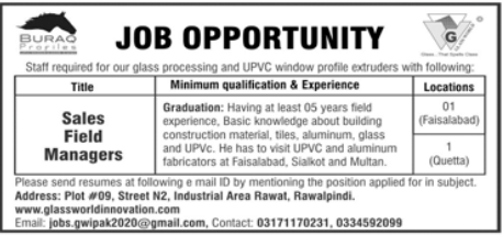Sales Field Managers Jobs 2021 in Quetta & Faisalabad