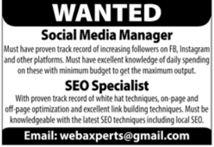 Social Media Manager & SEO Specialist Jobs 2021 in Lahore