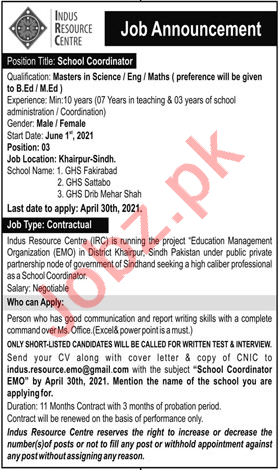 Indus Resource Centre IRC Karachi Jobs 2021 for Coordinator