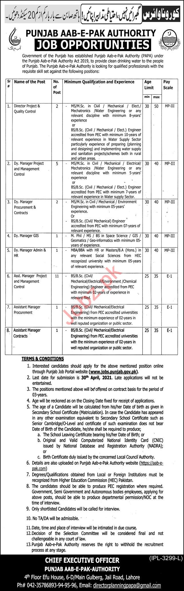 Punjab Aab e Pak Authority Lahore Jobs 2021 for Managers