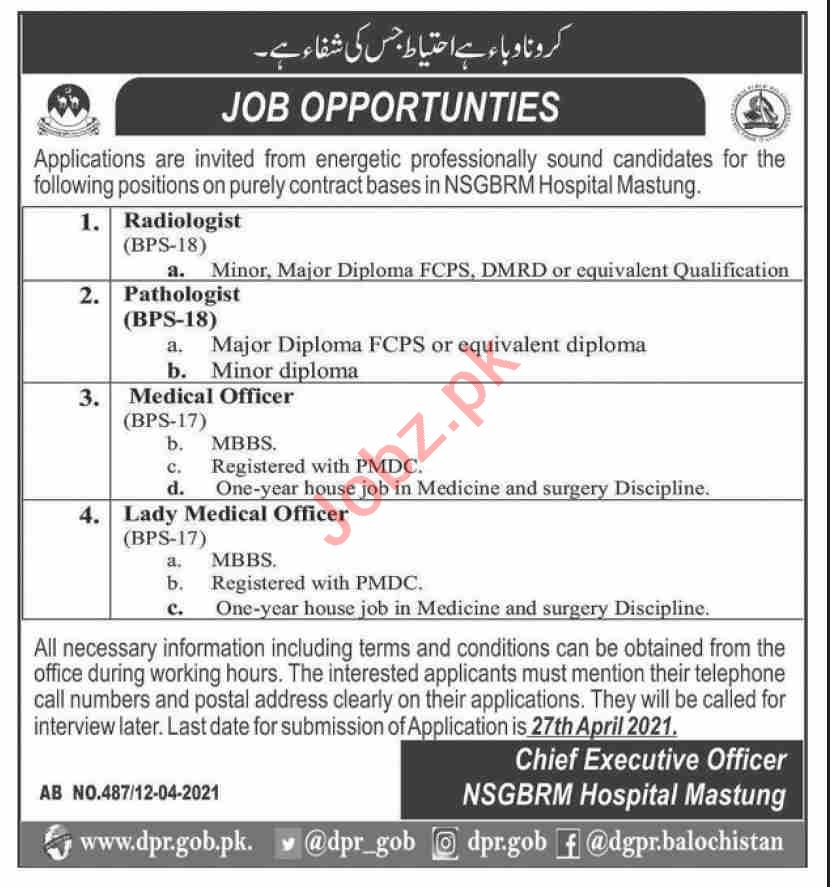 NSGBRM Hospital Mastung Jobs 2021 for Medical Officers