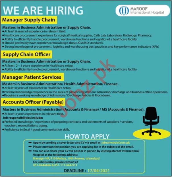 Maroof International Hospital Islamabad Jobs 2021