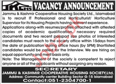 Jammu & Kashmir Cooperative Housing Society Islamabad Jobs