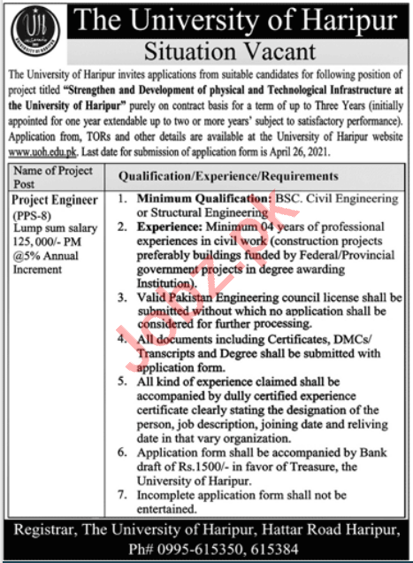 The University of Haripur Jobs 2021 for Project Engineer