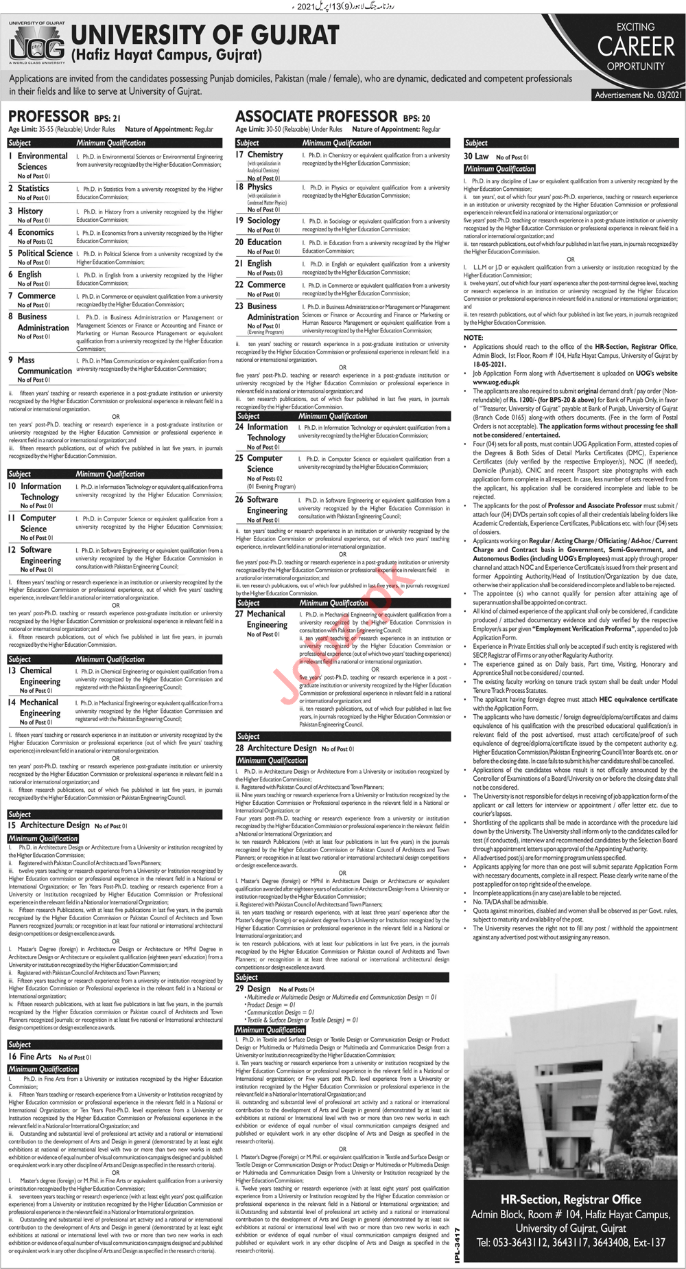 University of Gujrat Hafiz Hayat Campus UOG Jobs 2021