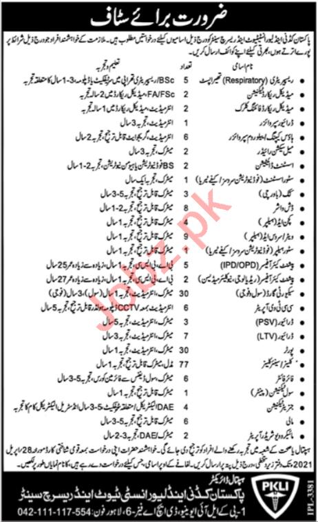 Pakistan kidney & Liver Institute PKLI Lahore Jobs 2021