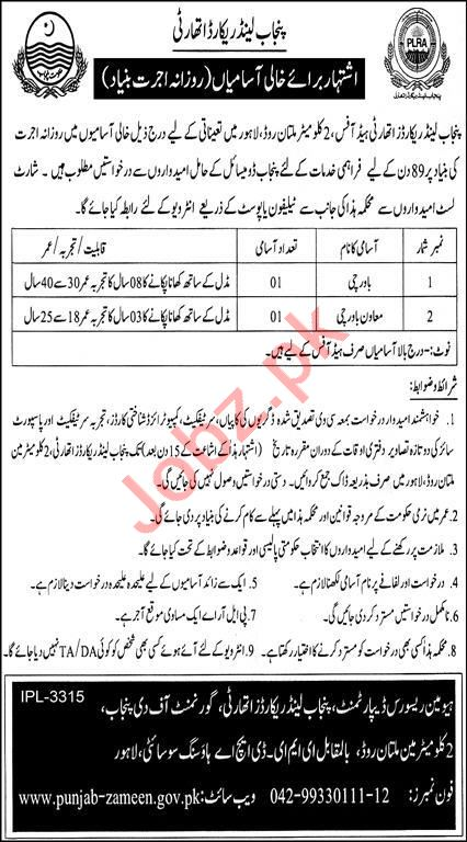 Punjab Land Records Authority PLRA Lahore Jobs 2021
