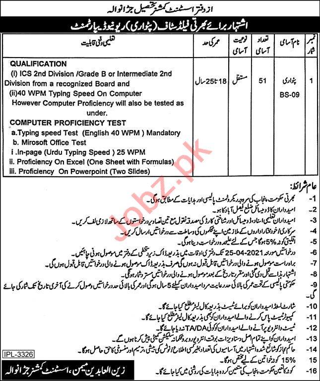 Assistant Commissioner AC Tehsil Jaranwala Jobs 2021 Patwari