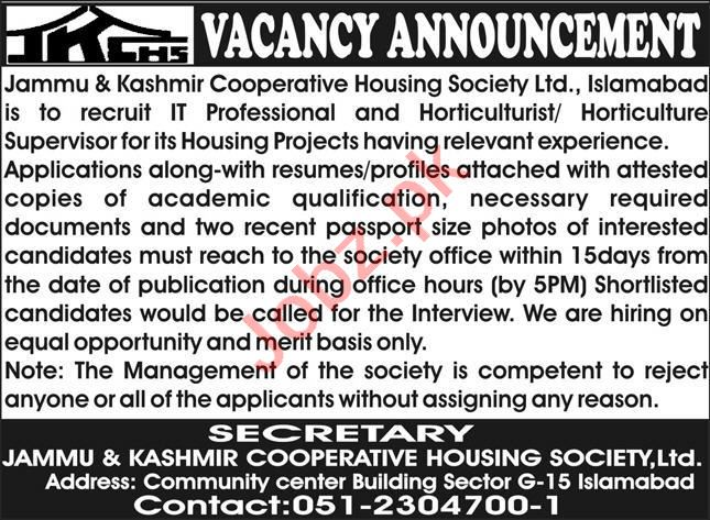 Jammu & Kashmir Cooperative Housing Society Jobs 2021