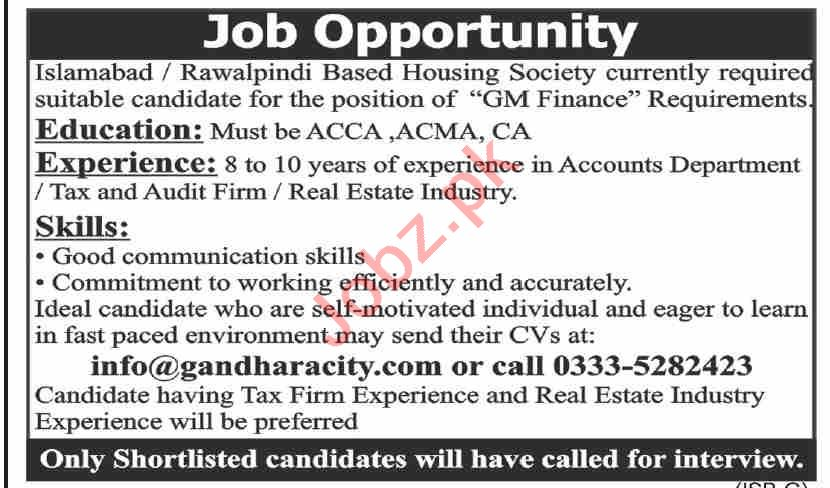 Gandhara City Islamabad Jobs 2021 for GM Finance