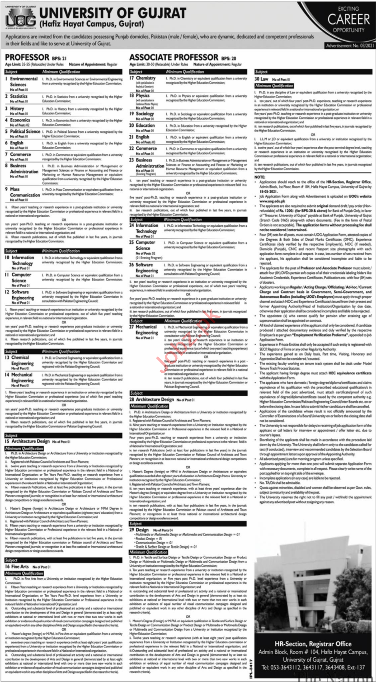 University of Gujrat UOG Teaching Staff Jobs 2021
