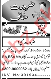 Teacher & Subject Specialist Jobs 2021 in Peshawar