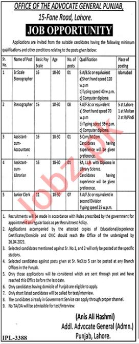 Advocate General Punjab Jobs 2021 for Stenographer