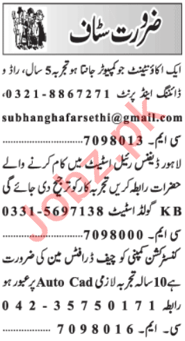 Accountant & Chief Draftsman Jobs 2021 in Lahore