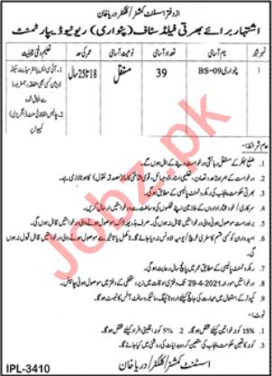 Assistant Commissioner AC Darya Khan Job 2021 for Patwari
